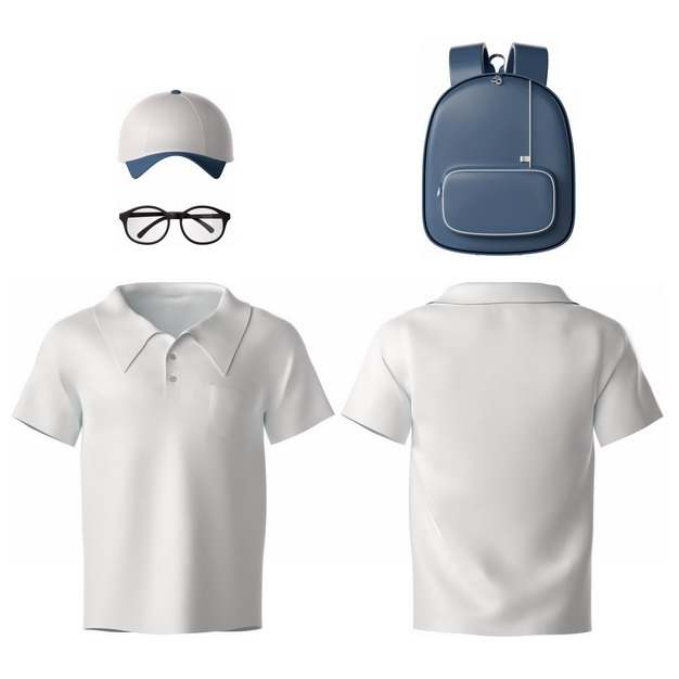 3D立体白色鸭舌帽眼镜T恤和背包212217png图片素材