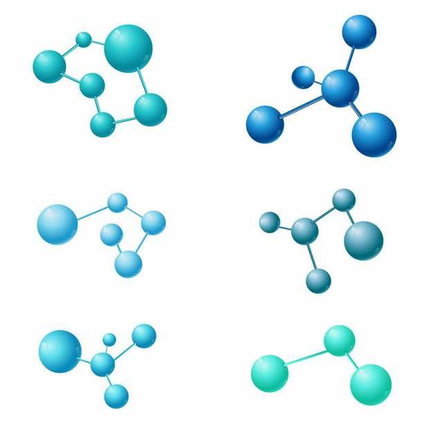 六款蓝色绿色小球组成的分子结构509229png图片素材