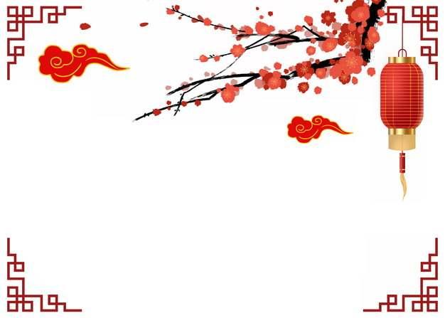 中国风红色窗格祥云梅花枝红灯笼等装饰693696PSD图片免抠素材