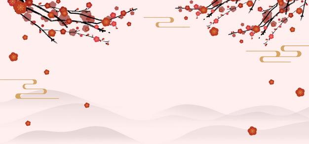 红色梅花枝和远山中国风横版背景471062PSD图片免抠素材 节日素材-第1张