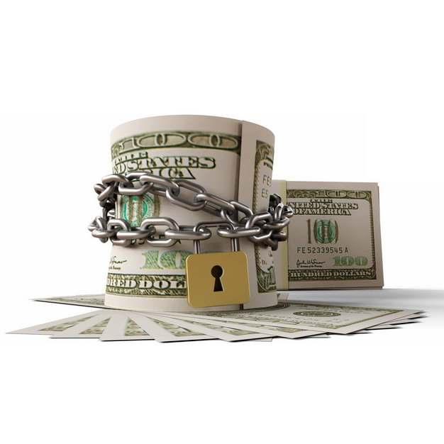 铁链和挂锁把美元捆在一起象征了金融股市危机848037png图片素材