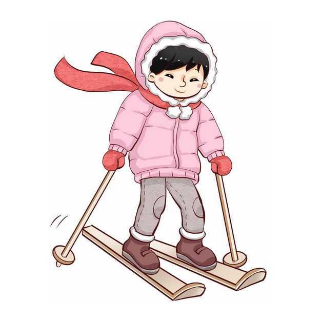 滑雪的卡通男孩冬季运动会559035免抠图片素材