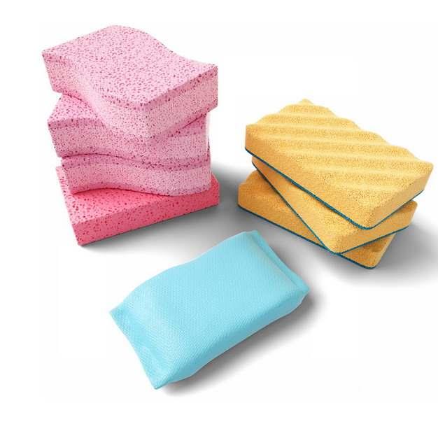 粉红色蓝色和黄色海绵百洁布海绵擦794802png图片素材