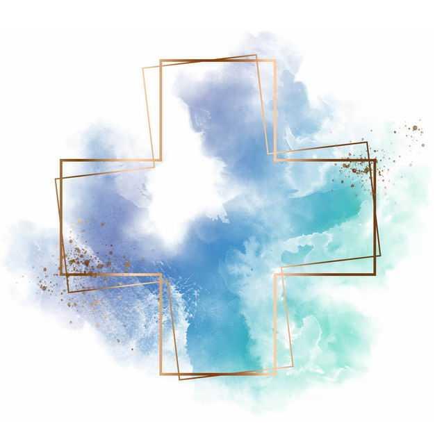 金色空心十字架边框和蓝绿色墨水渍装饰419996免抠图片素材