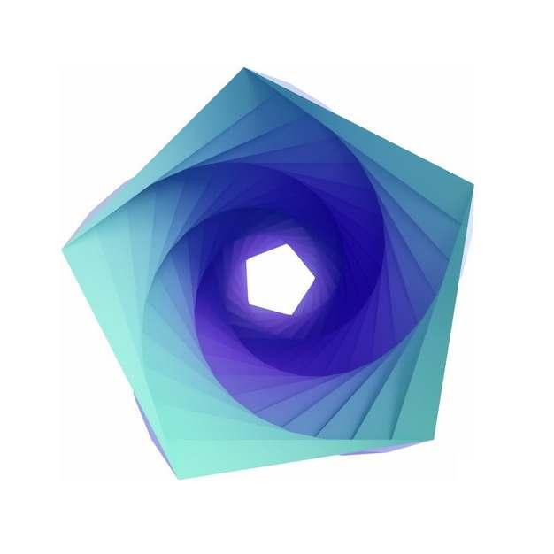 创意绿紫色抽象扭曲五边形图案329750png图片素材