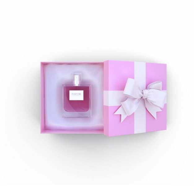 打开的包装精美的粉色礼物盒中的高档香水445897png图片免抠素材