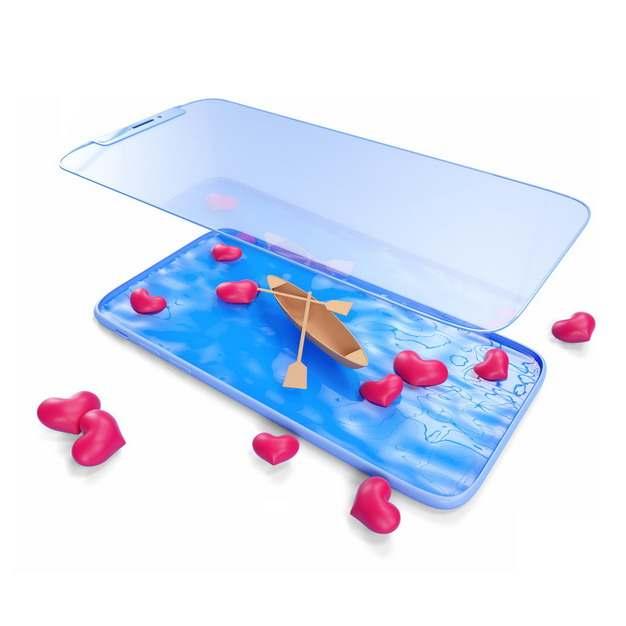 创意3D立体手机屏幕变成蓝色的水面停着一艘小木船和红心739395png图片素材