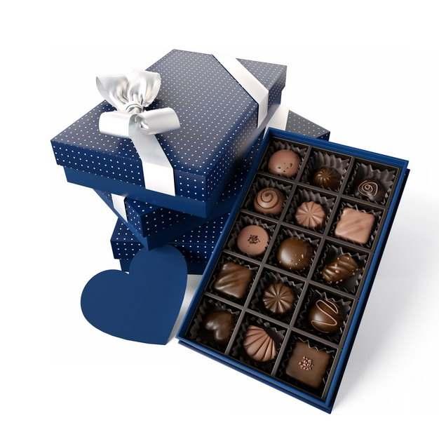 打开的蓝色礼盒中的高档巧克力781917png图片素材