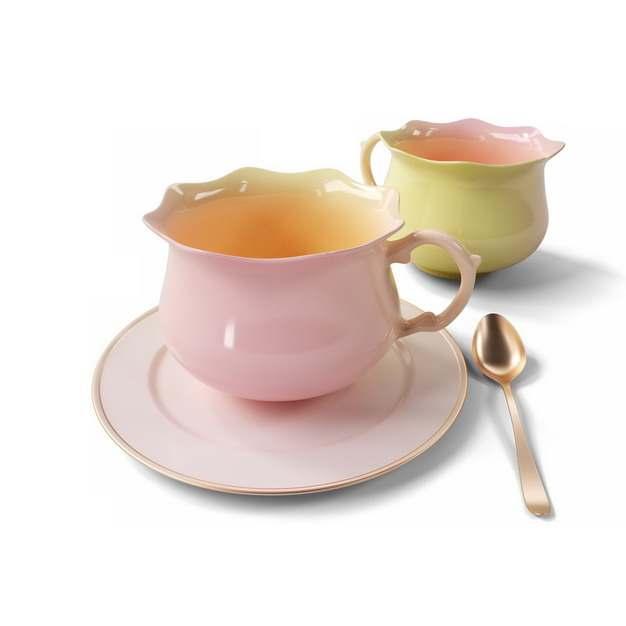 两套彩色欧式英式咖啡杯陶瓷杯742932png图片素材