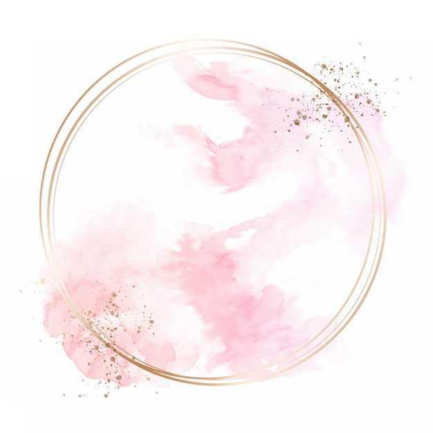 金色圆形边框和粉红色墨水渍装饰625941免抠图片素材