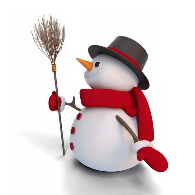 戴着魔术帽和红围巾的雪人拿着扫帚扫把752533png图片素材