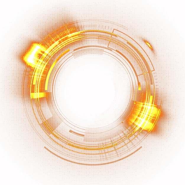 科幻风格黄色火光组成的发光圆圈351520PSD图片免抠素材