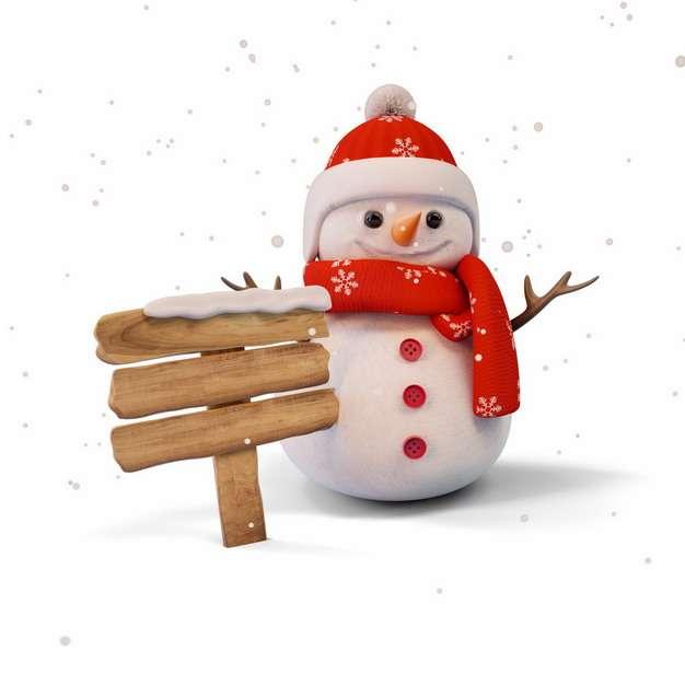 戴着红色帽子和围巾的雪人以及木牌指示牌373104png图片素材