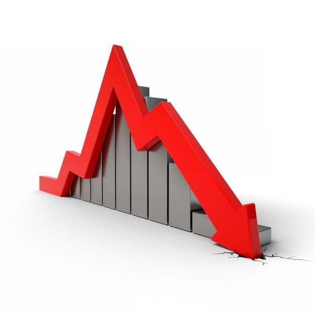 金属灰色3D立体风格柱形图和红色箭头砸裂地面象征了经济股市危机921996png图片素材