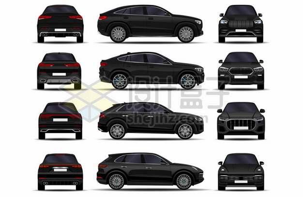 四款黑色汽车SUV三视图460240图片素材