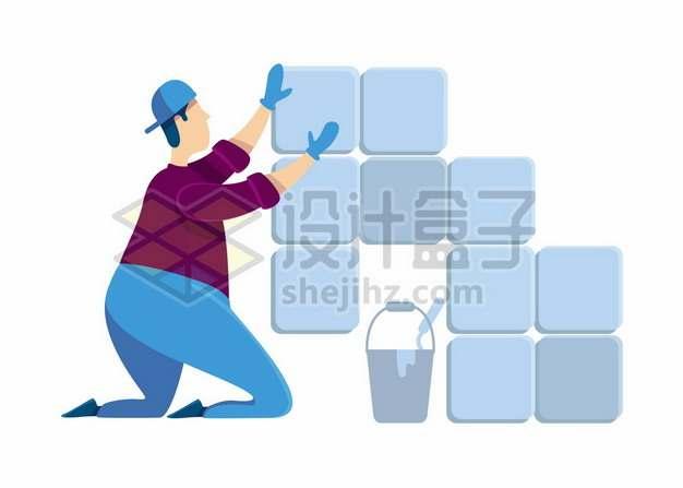 卡通建筑装修工人正在贴瓷砖497735背景图片素材