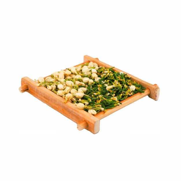 侧视角木头盘子中的茉莉花茶和葛花茶等养生花茶113123png图片免抠素材
