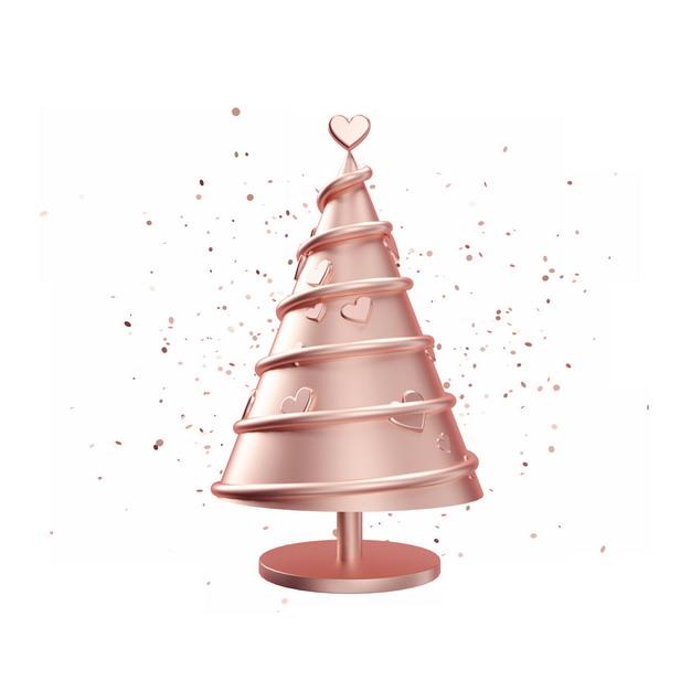C4D风格玫瑰金色3D立体圣诞树装饰436789PSD图片免抠素材
