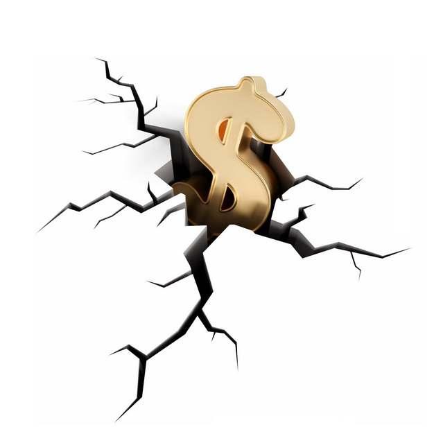 3D立体美元符号将地面砸出来裂缝象征了金融危机622545png图片素材