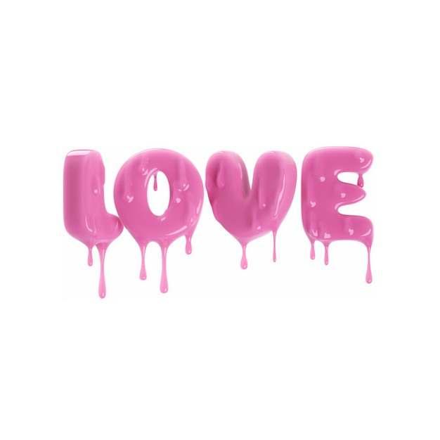 3D立体风格融化效果的粉红色LOVE字体640957png图片素材