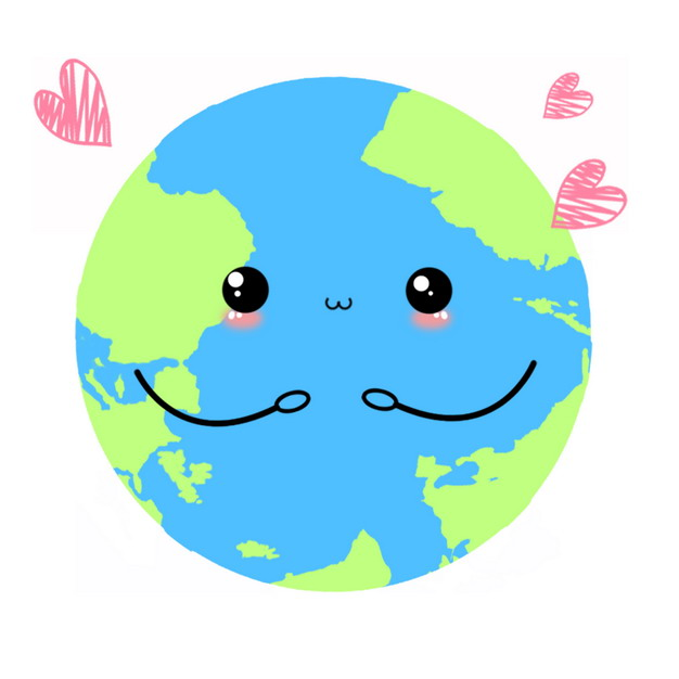可爱的卡通地球发出红心149064PSD图片免抠素材 科学地理-第1张