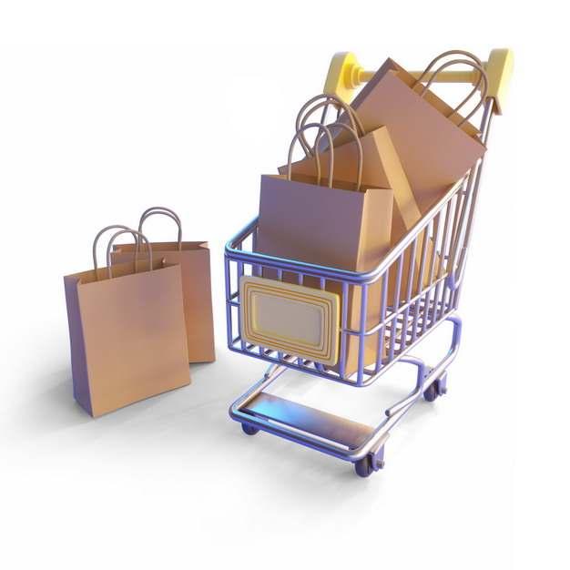 一款3D立体金属色超市购物车和各种购物袋989312png图片素材