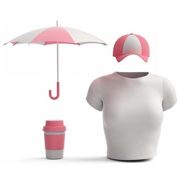 撑开的红白色雨伞鸭舌帽和白色T恤478514png图片素材