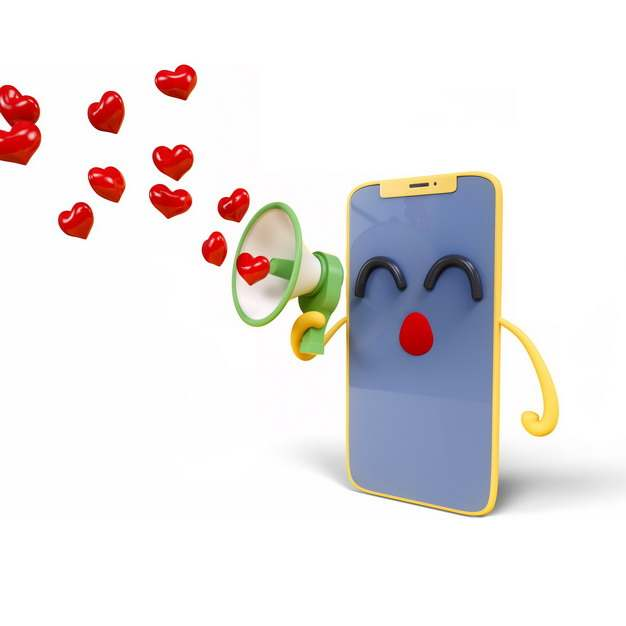 3D立体卡通手机拿着大喇叭发出红心934255png图片素材