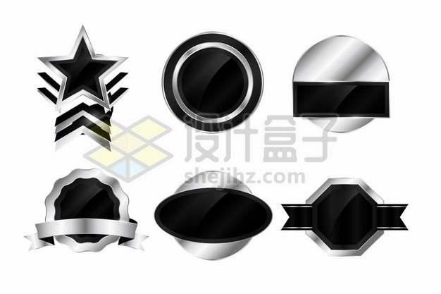 六款金属银色和黑色风格圆形五角星形多边形标题框文本框821758图片素材