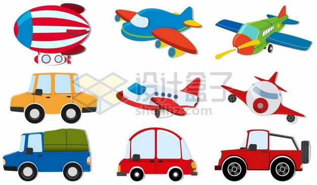 九款卡通飞艇飞机汽车卡车出租车等交通工具627666图片素材