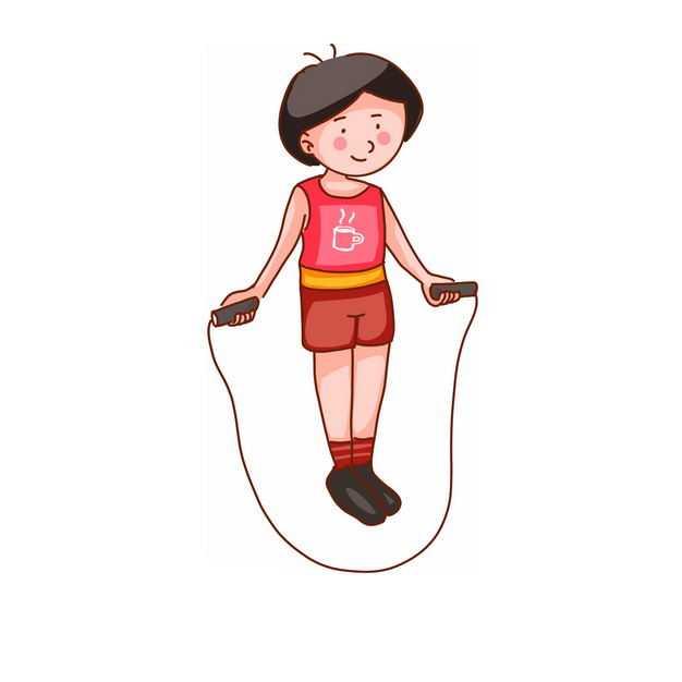 玩跳绳的卡通女孩668085png免抠图片素材