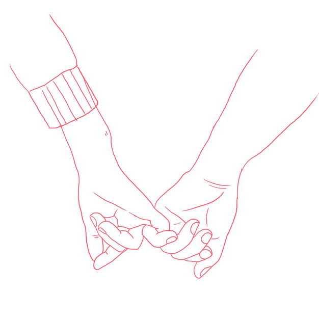 小拇指情侣手牵手红色线条插画134929免抠图片素材