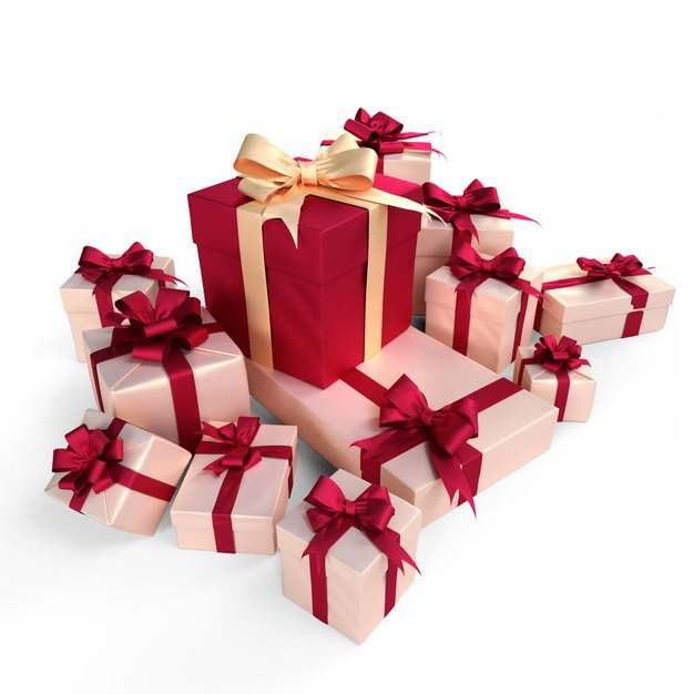 一大堆包装精美的红色和粉红色礼物盒529417png图片免抠素材
