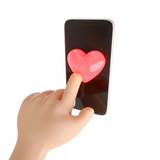 卡通手点击手机上的3D立体红心881111png图片素材