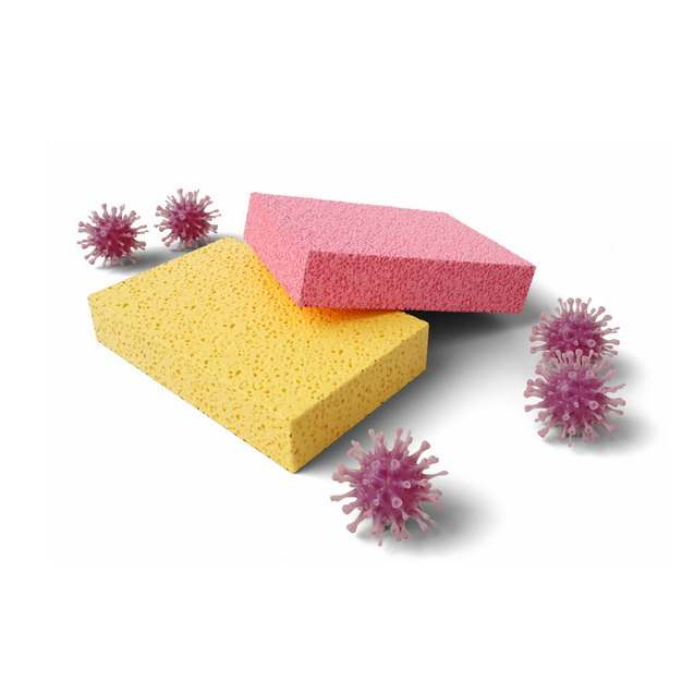 黄色和红色海绵百洁布海绵擦以及放大的3D立体细菌659568png图片素材