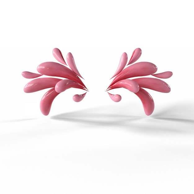 创意3D立体粉红色抽象对称液滴装饰图案685316png图片素材