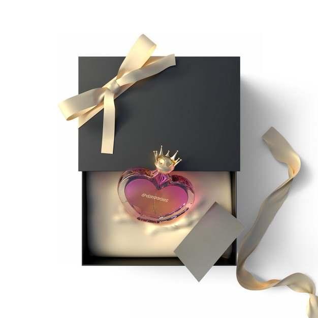 打开包装的精美黑色金色礼物盒中的高档香水763544png图片免抠素材