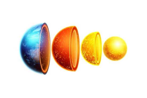 分离的3D立体地球内部结构地壳地幔地核等地球圈层284967png免抠图片素材