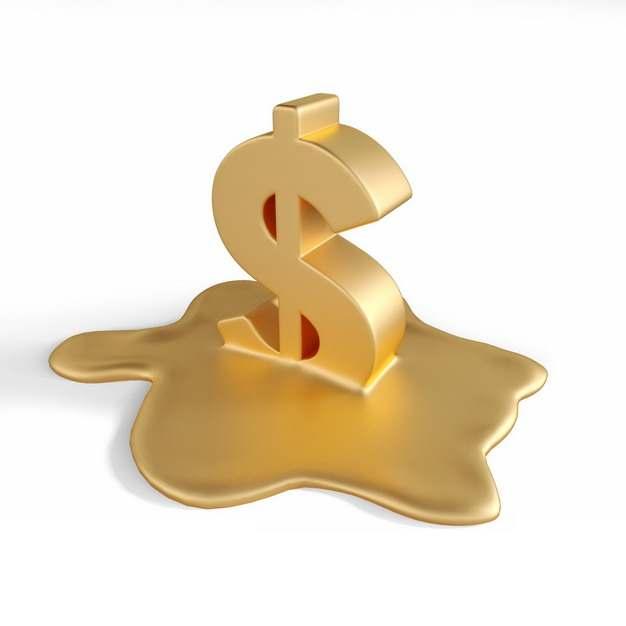 融化的3D立体风格金色美元符号标志353982png图片素材