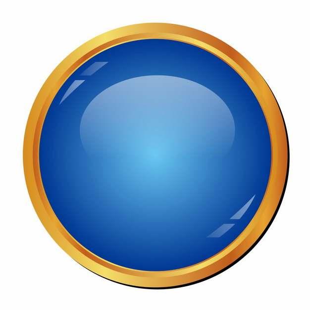 圆形金边蓝色水晶按钮881209png图片素材