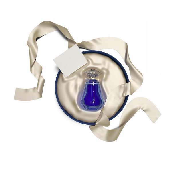 拆开包装的圆形礼品盒中的蓝色高档香水336243png图片免抠素材