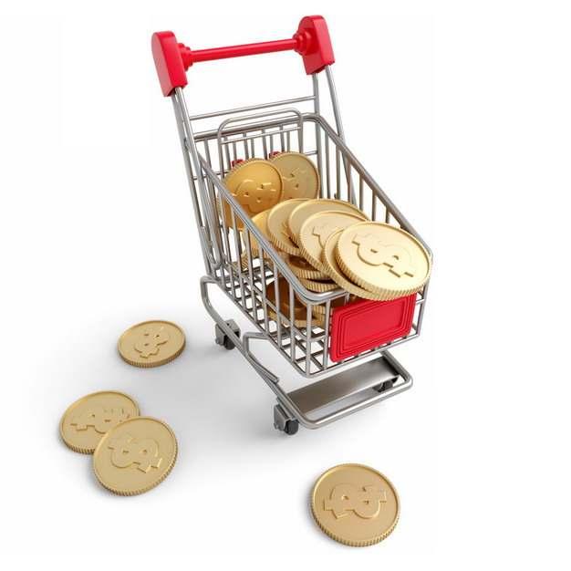一款3D立体超市购物车模型和金币538369png图片素材