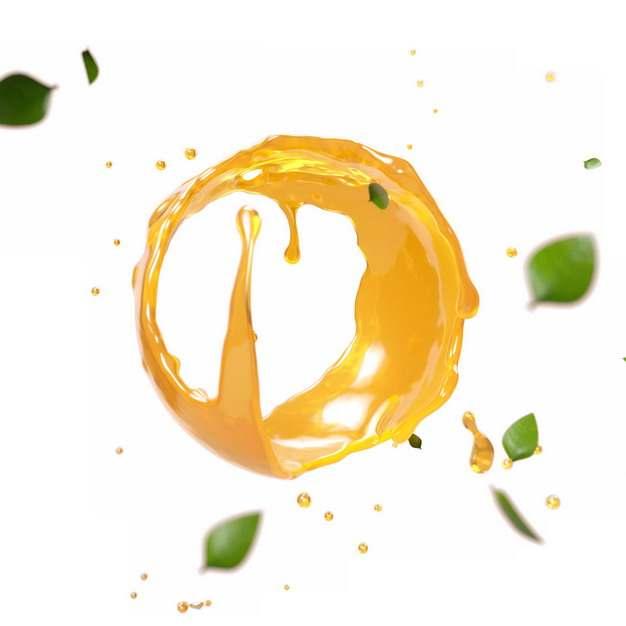 绿色树叶装饰橙汁液体水效果圆圈166946png图片素材