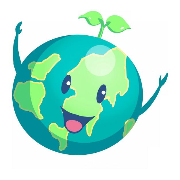 超可爱卡通地球头上长着一颗小嫩芽465885PSD图片免抠素材 科学地理-第1张