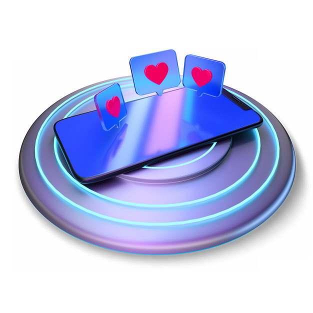 蓝紫色无线充电器上的3D立体手机743513png图片素材
