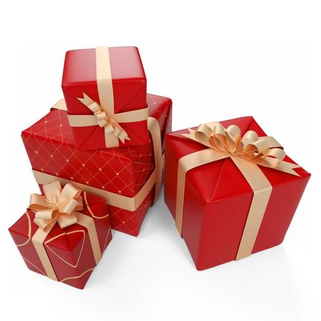一堆包装精美的金色和红色礼物盒110930png图片免抠素材