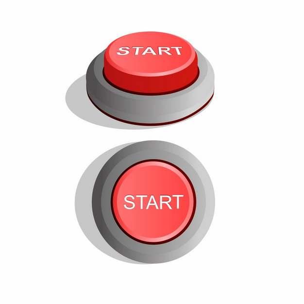 两个角度的红色开关按钮START开始按钮498816png图片素材