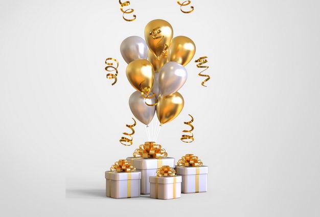 金色白色光泽的气球和白色礼物盒625407PSD免抠图片素材 节日素材-第1张