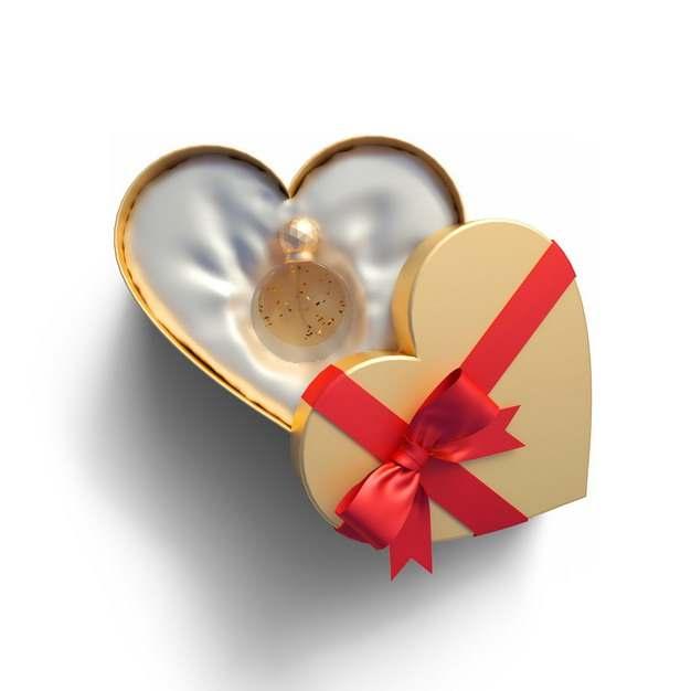 包装精美的金色心形礼物盒中的高档香水741803png图片免抠素材