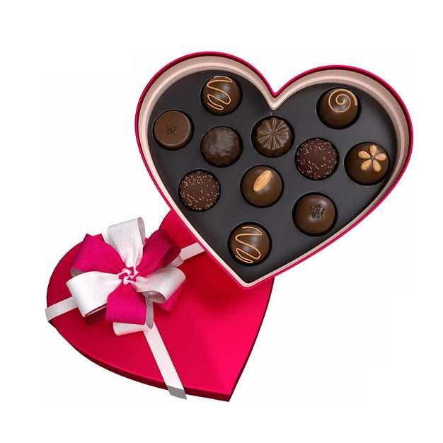 打开的红色心形礼盒中的巧克力221685png图片素材